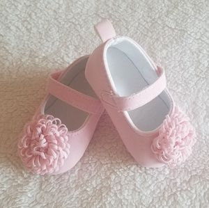 Pretty Pink Baby Shoes with Flower